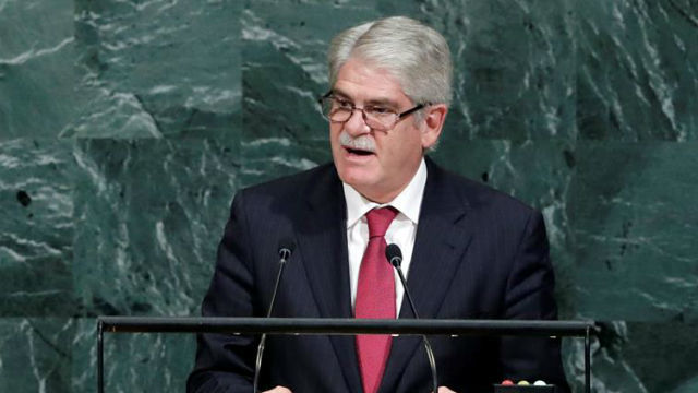 El ministro español de Asuntos Exteriores, Alfonso Dastis, habla durante el debate de alto nivel de la 72 Asamblea General de N