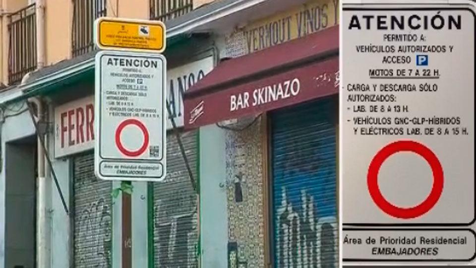 Cartel confuso de la APR en la calle Arniches