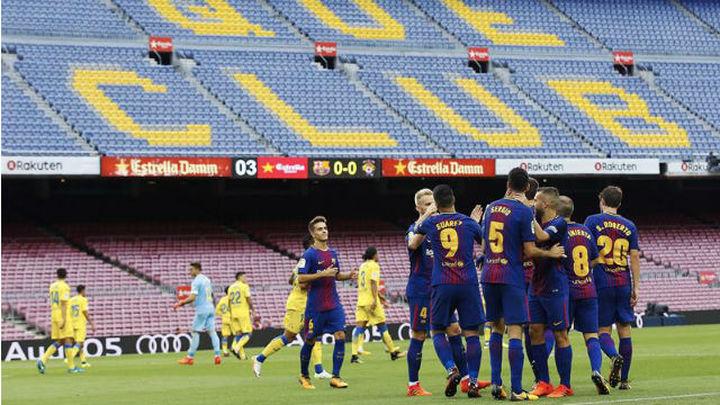 3-0. El Barça golea a Las Palmas en un Nou Camp vacío