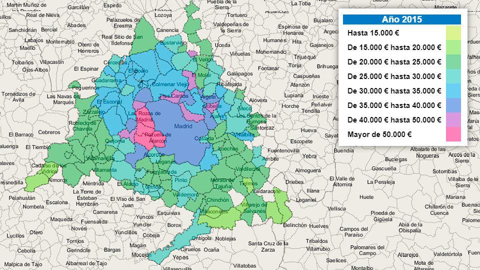 Arriba y abajo de la renta por municipios