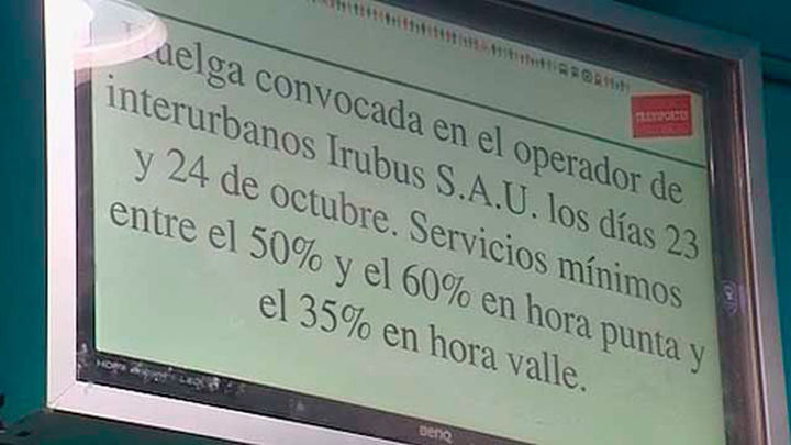 Retrasos en la salida de los servicios mínimos de huelga de Irubus