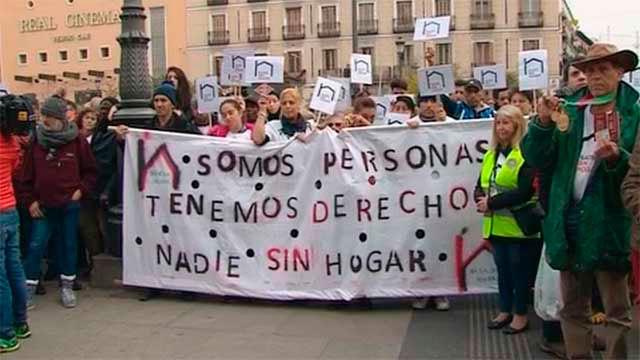 Manifestación de personas sin techo en Madrid