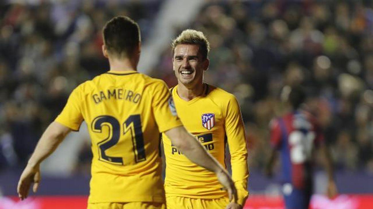 0-5. Gameiro y Griezman meten una 'manita' al Levante
