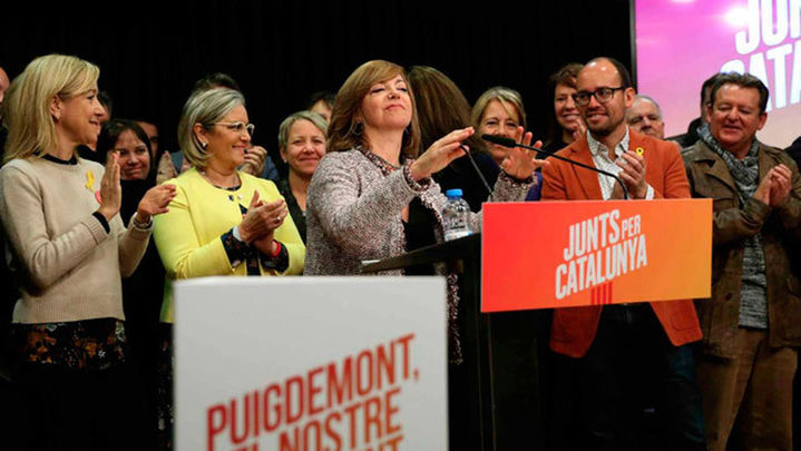 Borràs pide la libertad de los encarcelados  en su primera aparición en campaña