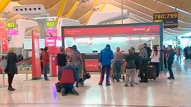 Mostrador en el aeropuerto de Madrid Barajas