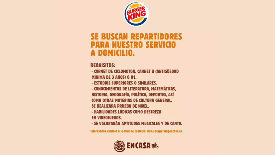 Oferta de empleo Burger King