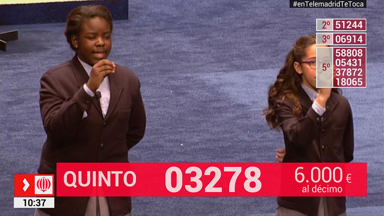 03278, video del quinto premio del Sorteo de Lotería de Navidad 2017