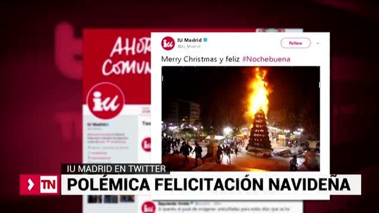 IU Madrid felicita la Nochebuena con la imagen de un árbol navideño en llamas