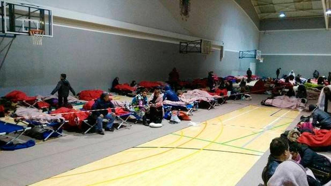 Personas alojadas en el polideportivo de Alsasua