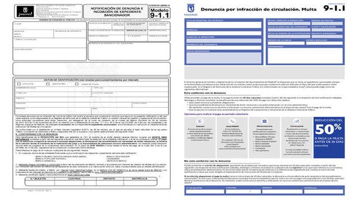 El Ayuntamiento de Madrid crea un nuevo modelo de multa, más visual y comprensible