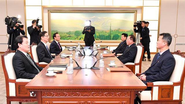 Delegaciones de las dos Coreas