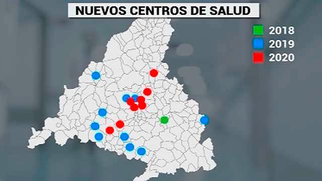 Plano de los nuevso Centros de Salud de la Comunidad de Madrid
