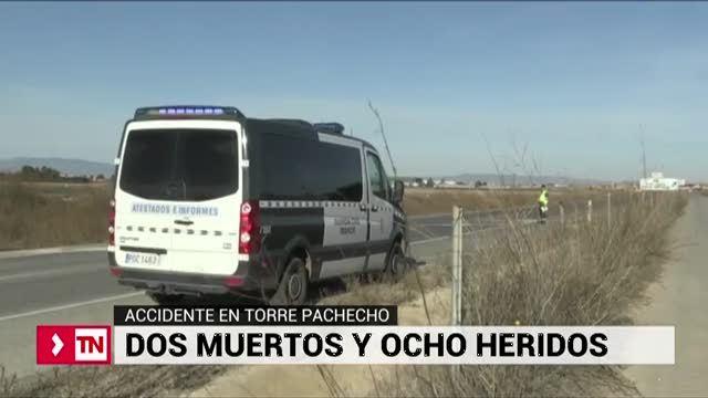 Dos muertos y nueve heridos en un choque frontal de dos vehículos en Murcia