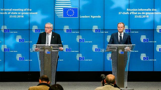El presidente de la Comisión Europea, Jean-Claude Juncker y el presidente del Consejo Europeo, Donald Tusk