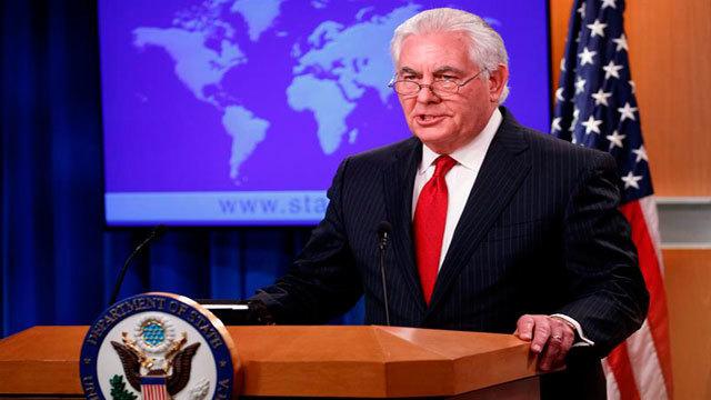 El secretario de Estado estadounidense, Rex Tillerson, ofrece una rueda de prensa sobre su cese en el cargo