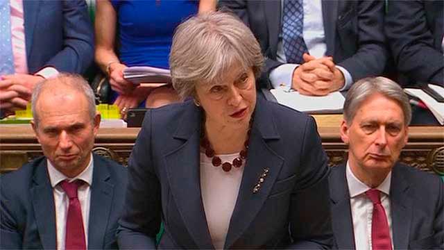 La primera ministra, Theresa May en el Parlamento