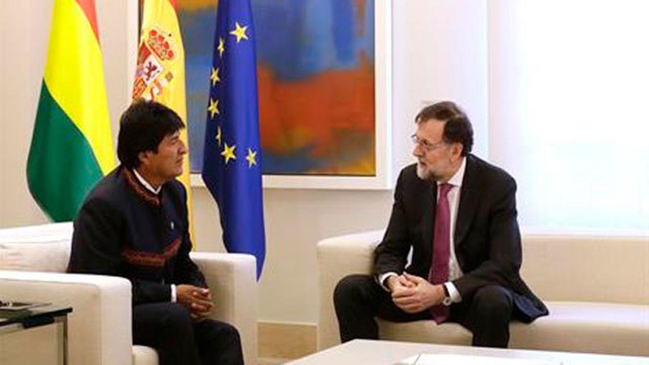 Rajoy y Evo Morales en La Moncloa