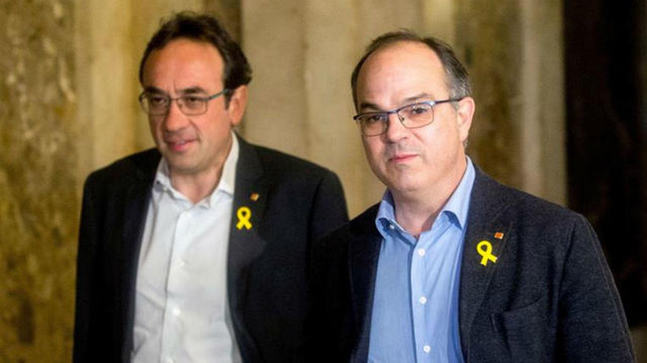 Los diputados de JxCat, Jordi Turull, y Josep Rull
