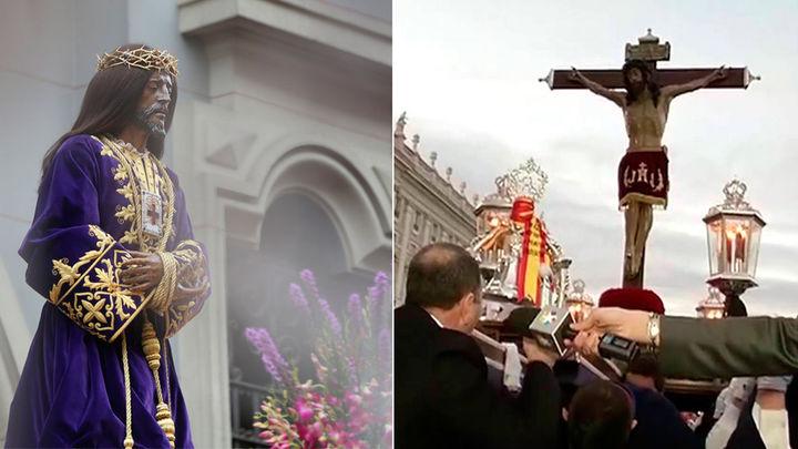 Jesús de Medinaceli y el Cristo de los Alabarderos, estrellas de un viernes santo en Madrid, amenzado por la lluvia