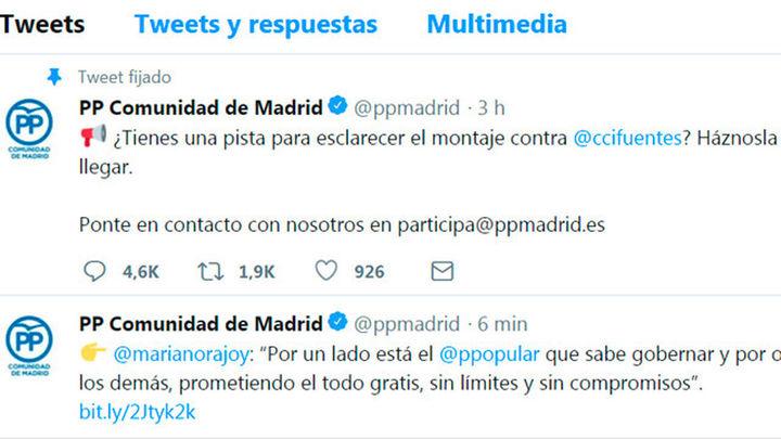 """El PP busca pistas en Twitter sobre el """"montaje"""" contra Cifuentes"""