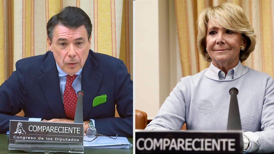 Ignacio González y Esperanza Aguirre durante su comparecencia ante la Comisión de Investigación relativa a la presunta financia