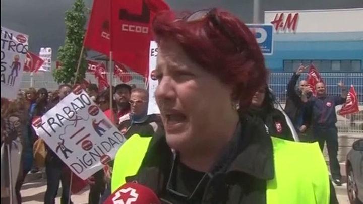 Huelga de los trabajadores del almacén de distribución de H&M en Torrejón de Ardoz