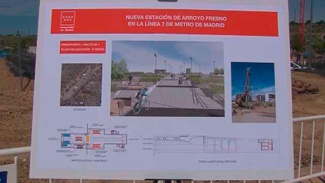 Cartel anunciado de las obras de la nueva estación