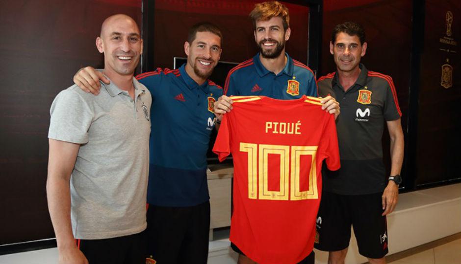 Rubiales, Ramos, Piqué y Hierro