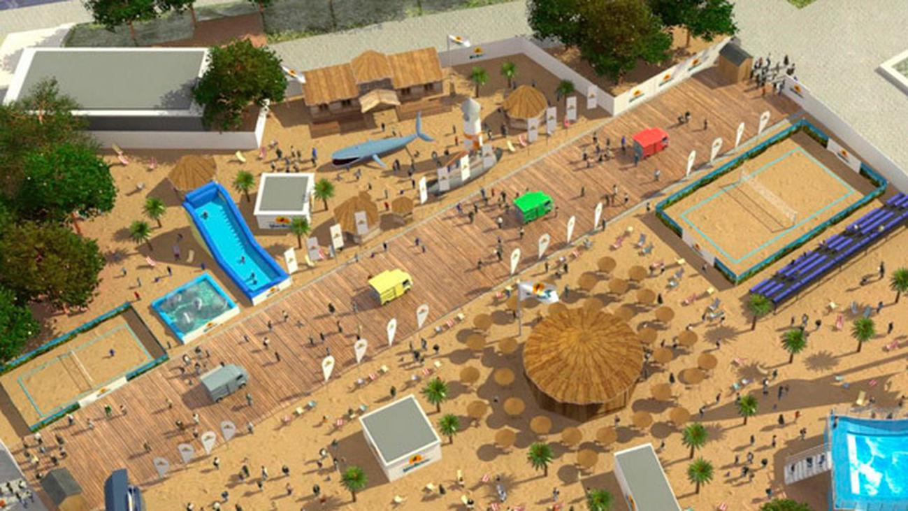 La playa urbana de la plaza de Colón, pendiente del visto bueno del ayuntamiento