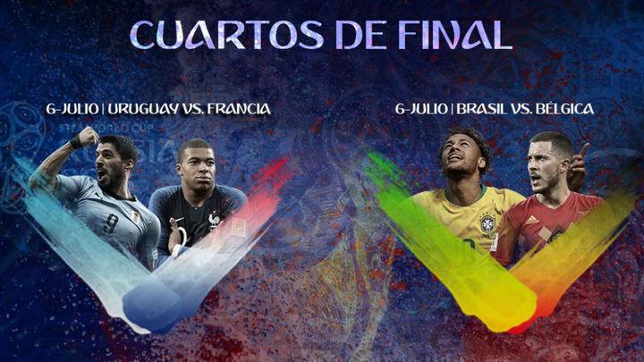 Brasil-Bélgica y Francia-Uruguay, en busca de las 'semis'