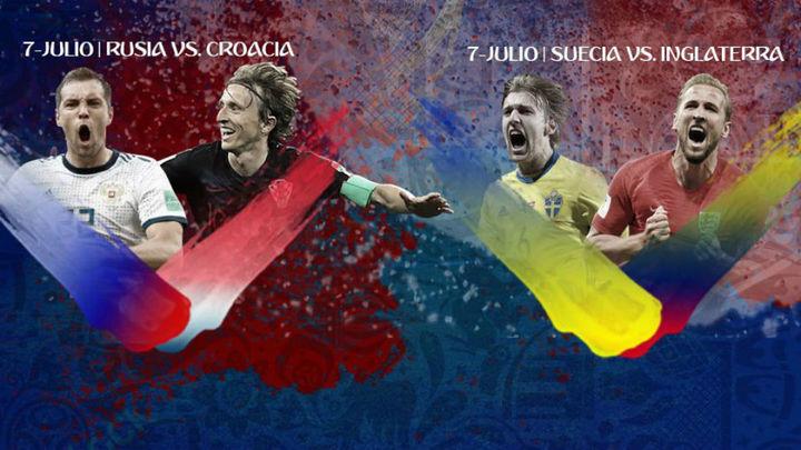 Inglaterra-Suecia y Croacia-Rusia buscan el sendero hacia la gloria