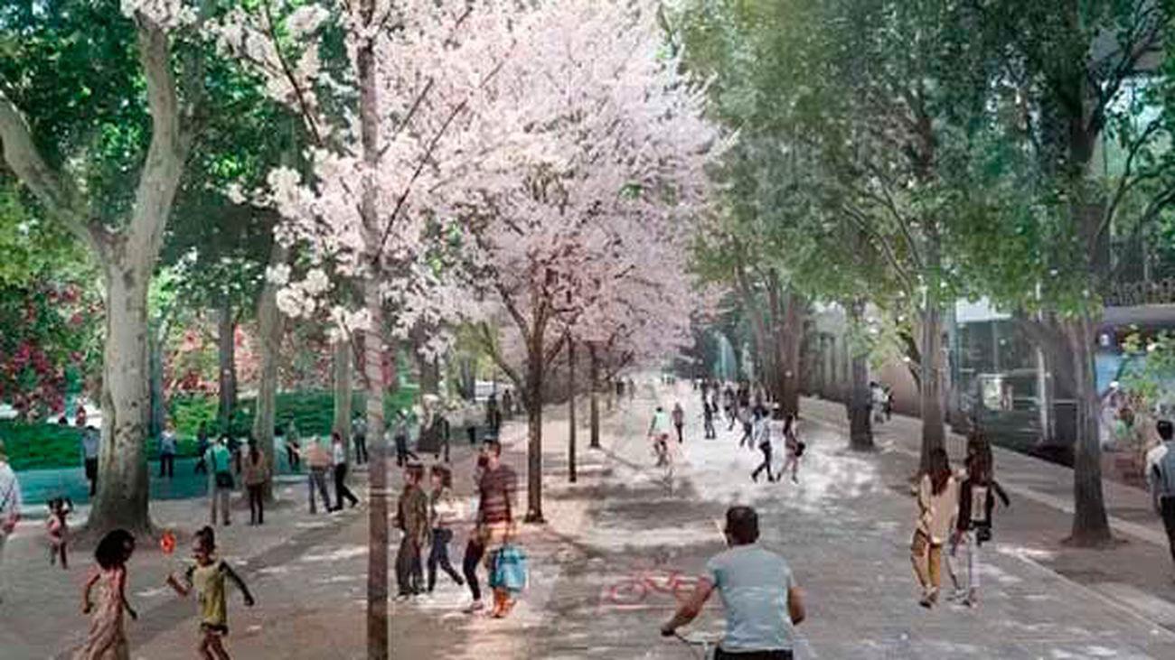 Boceto del nuevo pasillo peatonal en Plaza de España