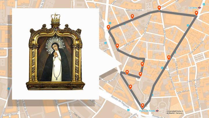 Recorrido de la procesión de la Virgen de la Paloma