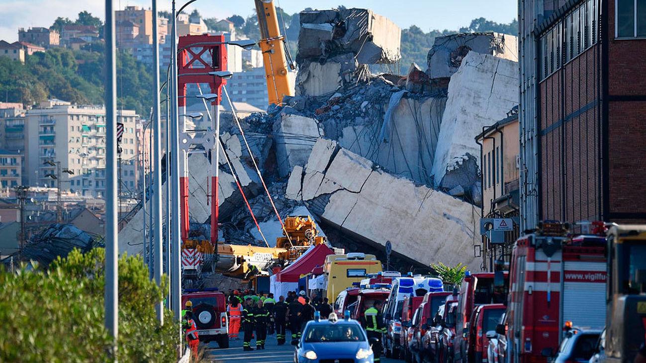 Al menos 39 muertos como consecuencia del colapso del viaducto en Génova