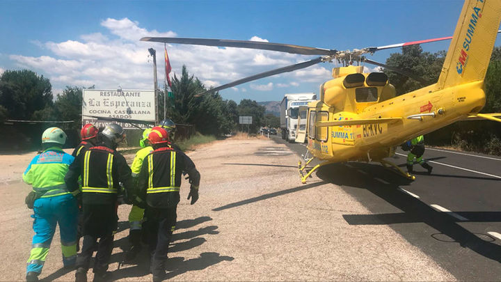 Dos heridos graves en una colisión frontal en Valdemorillo