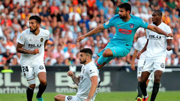 1-1. Valencia y Atlético igualaron en un partido intenso y de fuerzas parejas