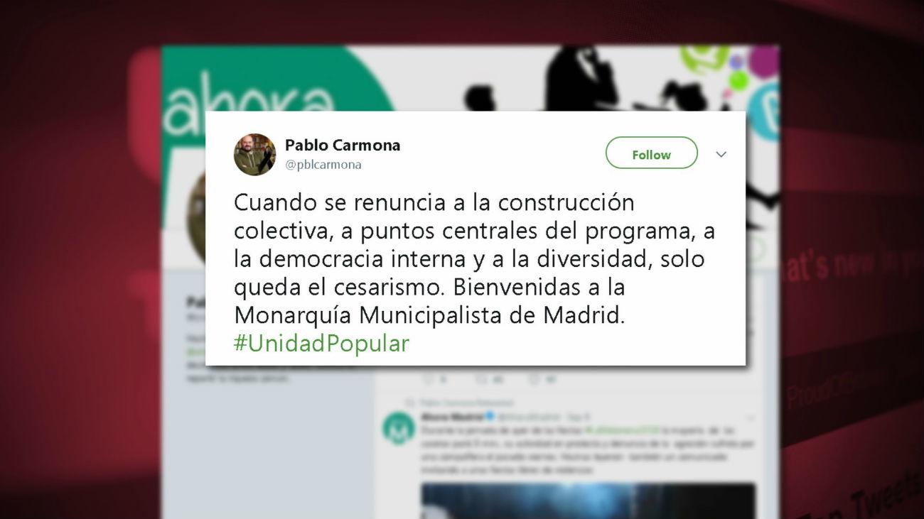Diferencias en Ahora Madrid ante la candidatura de Carmena