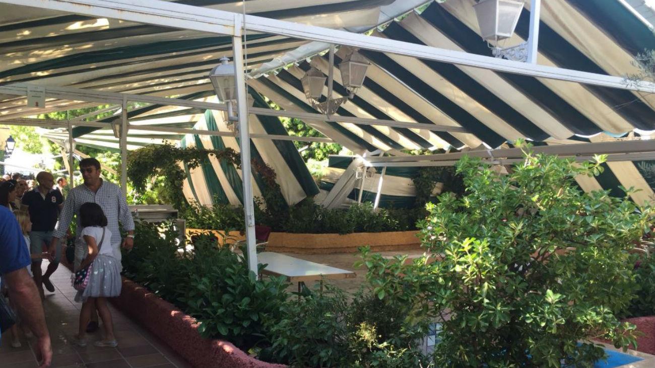 Un árbol de grandes dimensiones cae sobre la carpa de restaurante en El Pardo
