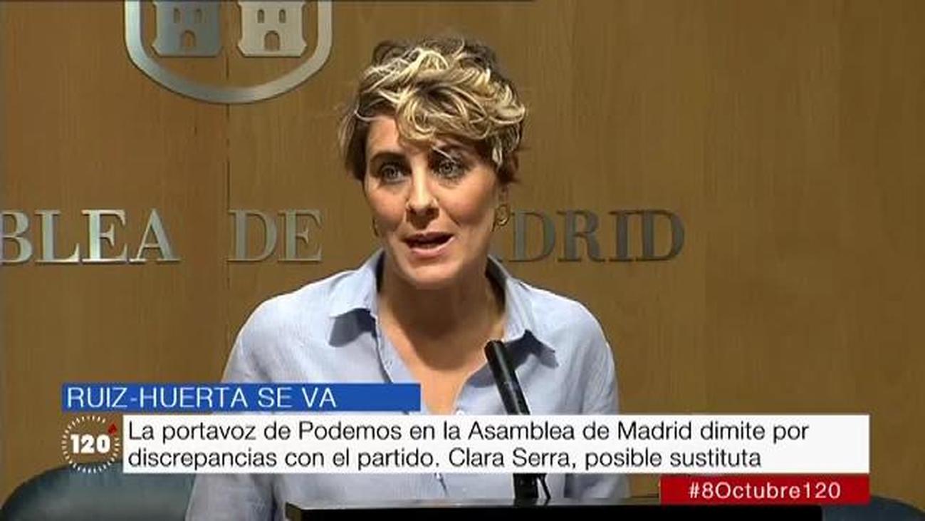Lorena Ruiz-Huerta, emocionada en su despedida como portavoz de Podemos