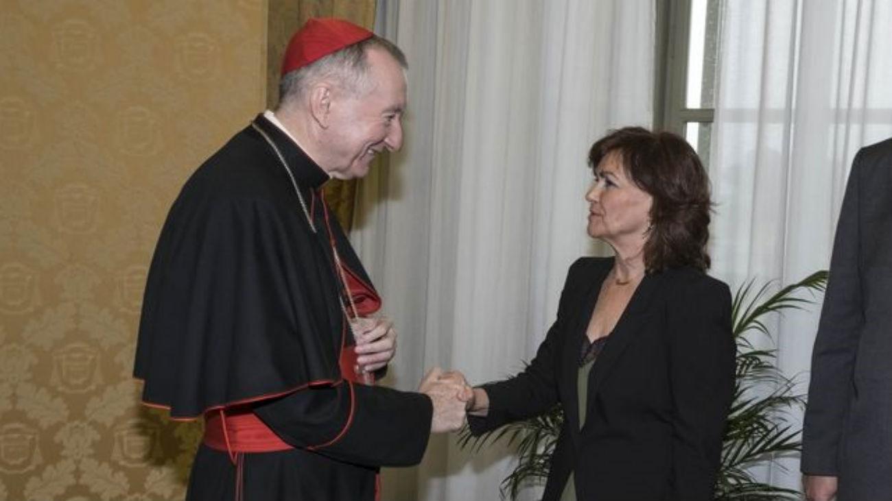 Carmen Calvo, en el Vaticano