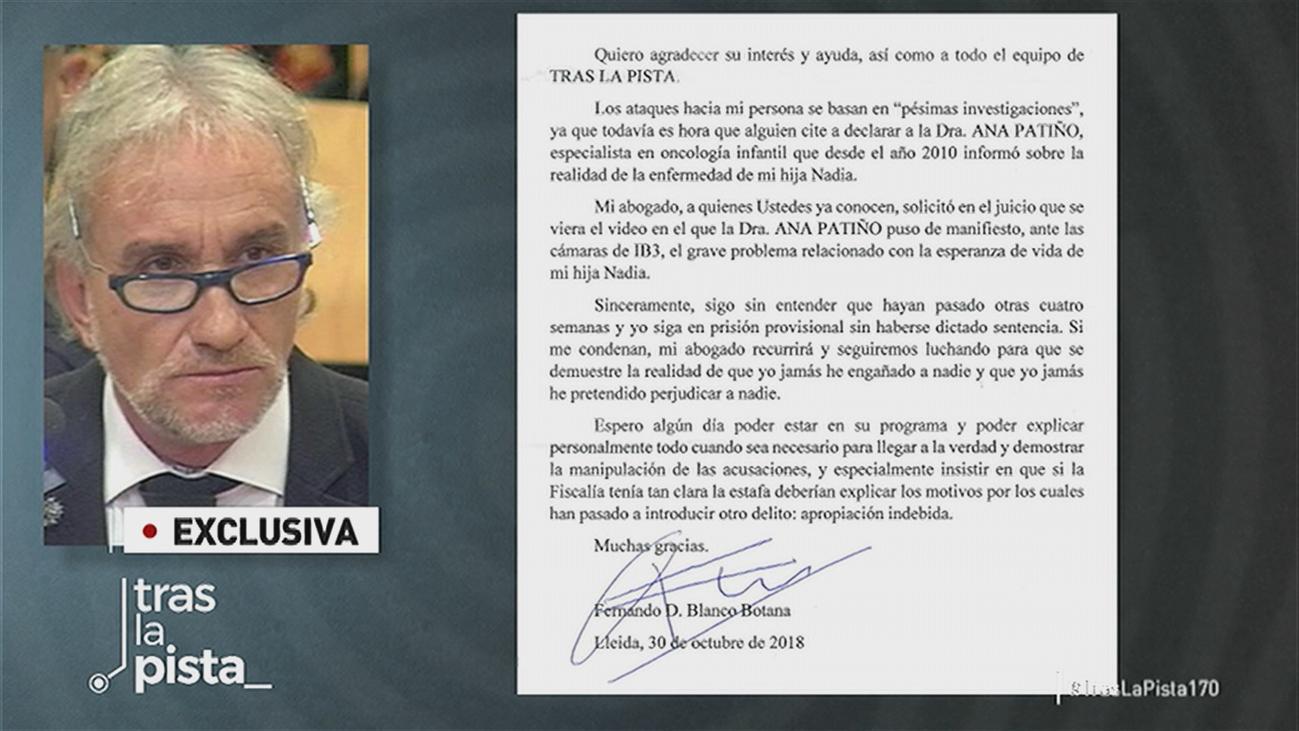 Fernando Blanco, el padre de Nadia, envía una carta al programa desde la cárcel