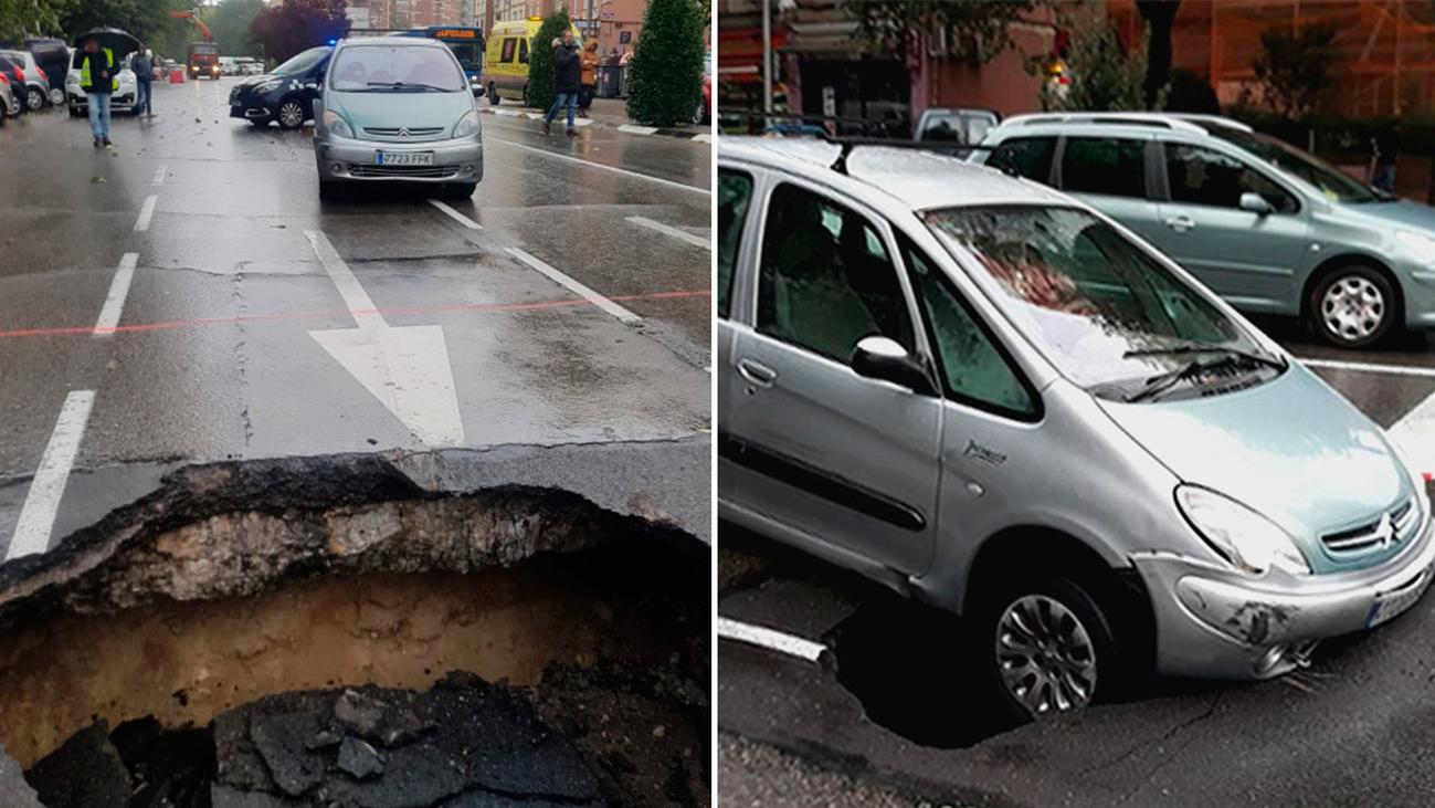Otro socavón en La Elipa se 'traga un coche'