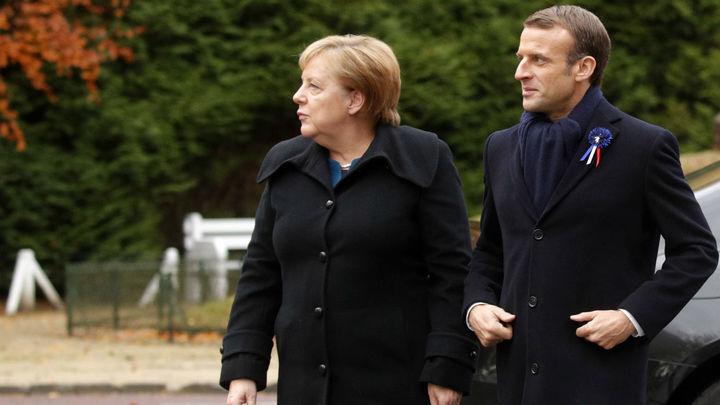 Histórico encuentro entre Macron y Merkel en el lugar del armisticio de 1918