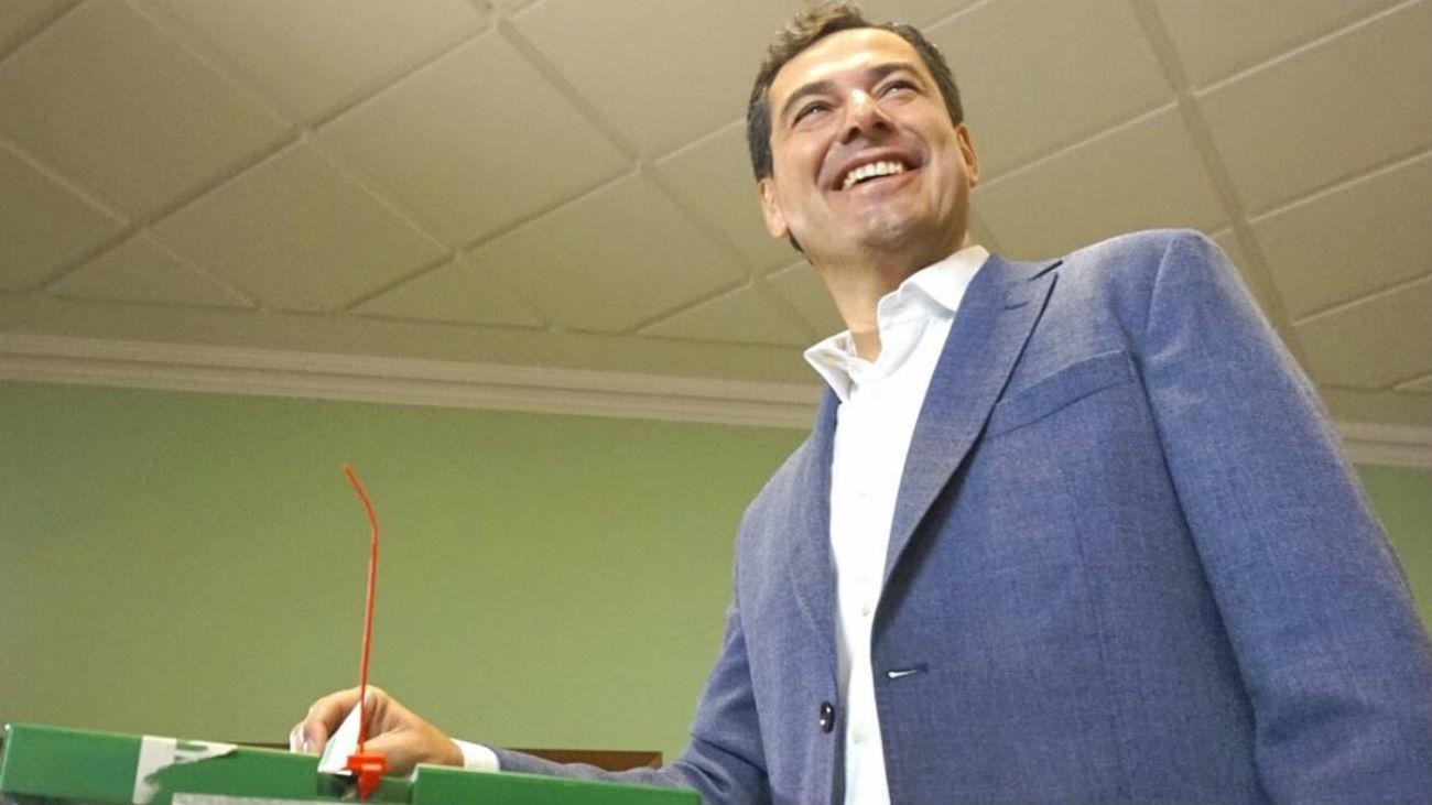 El candidato a la Junta de Andalucía por el Partido Popular (PP), Juanma Moreno