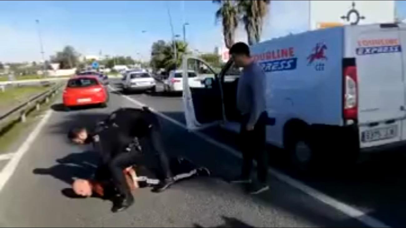 El vídeo viral de la detención de un ladrón de una furgoneta en Sevilla