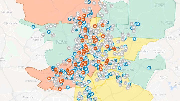 El mapa de las casas de apuestas en Madrid