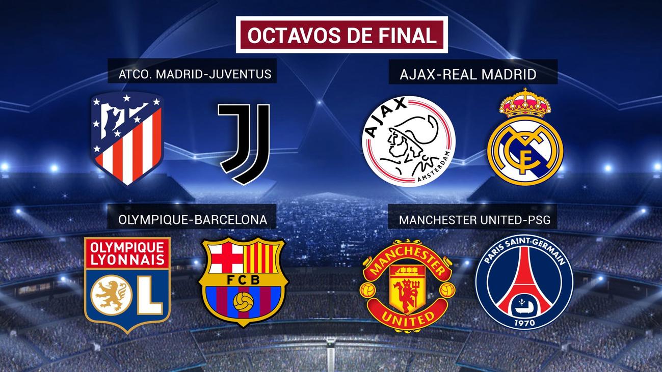 Atlético-Juventus y Ajax-Real Madrid, duelos en octavos