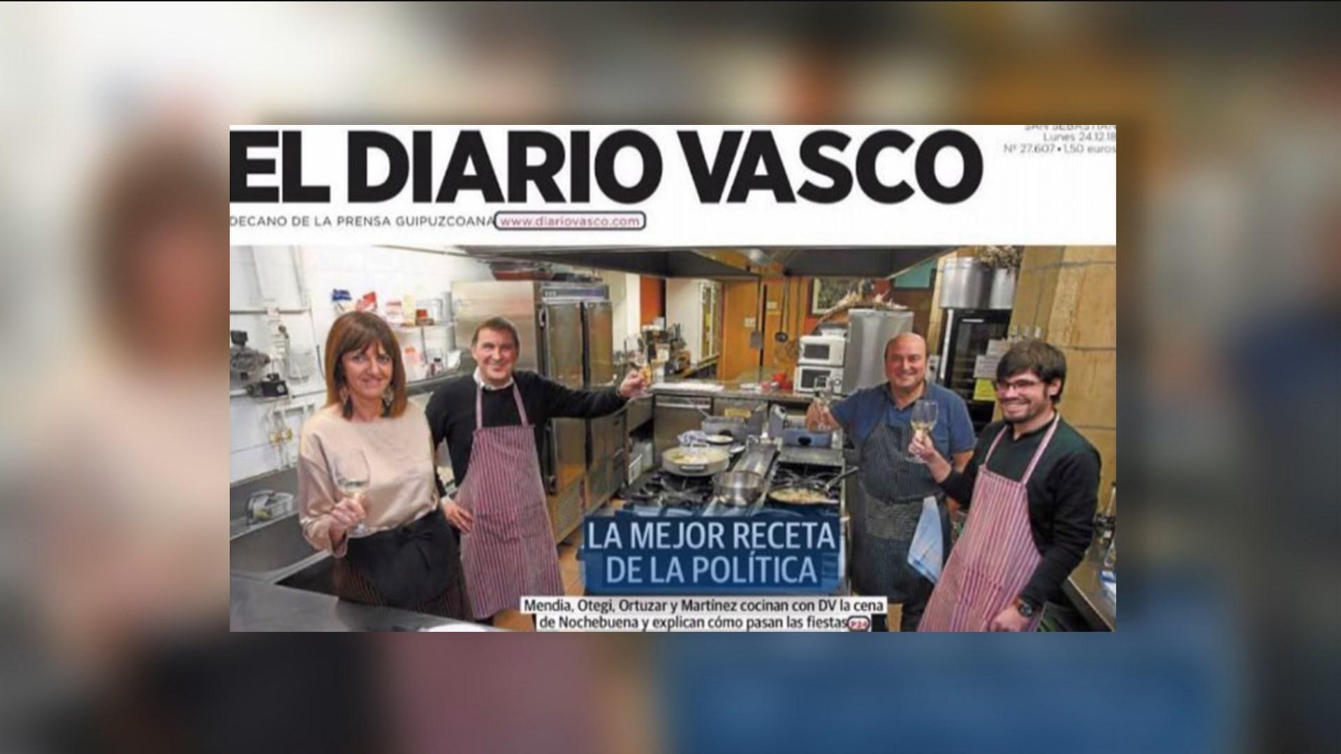 """Foto de """"El Diario Vasco"""" en la que Idoia Mendia prepara un menú navideño con Otegi / EL DIARIO VASCO"""