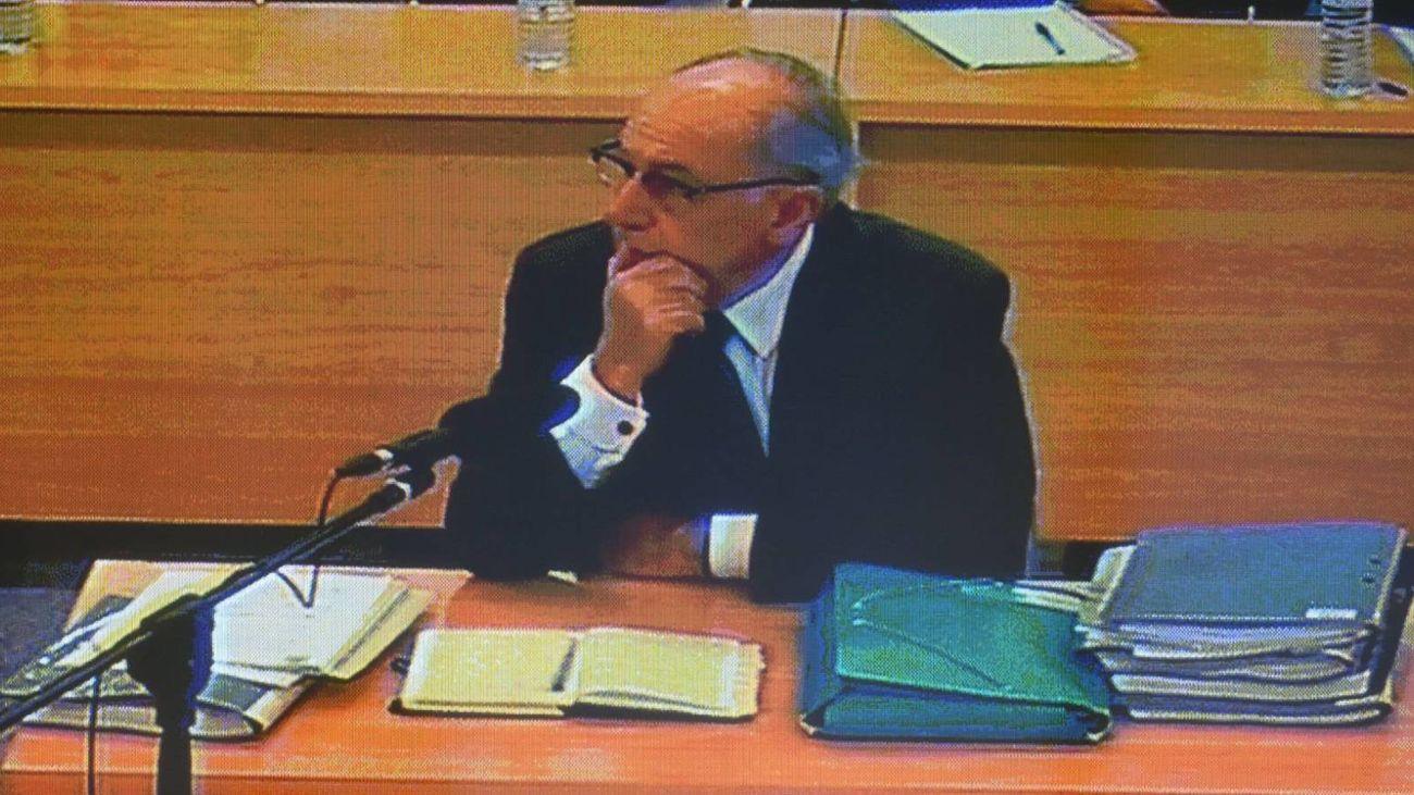 Imagen del monitor de la sala de prensa de la Audiencia Nacional de el expresidente de Bankia durante el juicio que se sigue contra Rodrigo Rato. EFE