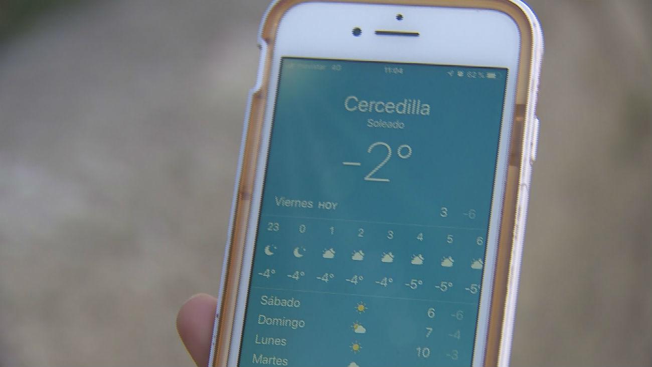 El frío polar desploma el mercurio en Navacerrada hasta los -10,3 grados